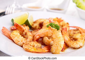 plate of cooked shrimp