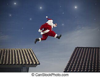 Santa Claus jump - Fast Santa Claus jumping on a roof