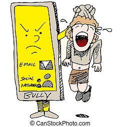 Caught Cyber Bullying - An image of a child caught cyber...