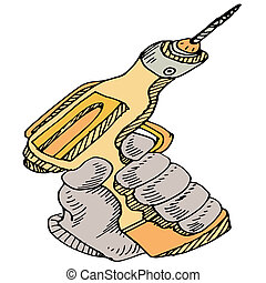 Power Drill Tool - An image of a hand holding a power drill...