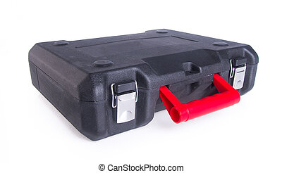Black plastic tool box on the background