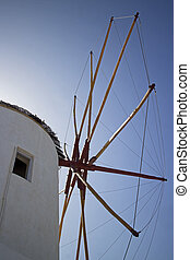 mykonos windmill - closeup of a mykonos famous windmill
