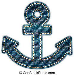 Anchor icon. Realistic denim. Vector eps10 - Anchor icon....