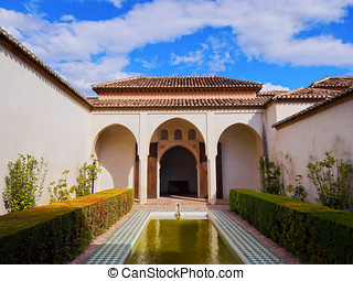 Alcazaba in Malaga, Spain - Courtyard garden of the Cuartos...