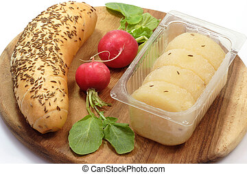 Cheese with Caraway - Roll of german cheese with bread and...