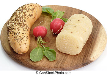 German Hand Cheese - Roll of german cheese with bread and...