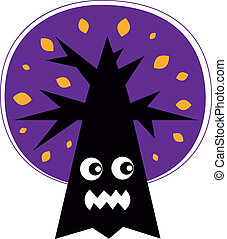 Cute Angry Halloween tree isolated on white