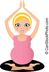 Blond Pregnant yoga woman isolated on white - Pregnant yoga...