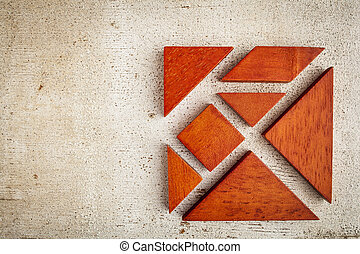 wooden tangram puzzle - seven tangram wooden pieces, a...
