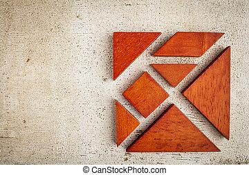 de madera, tangram, rompecabezas
