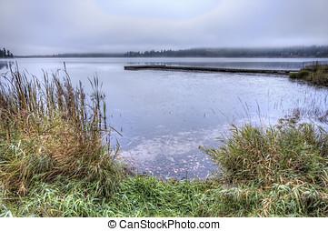 Rose Lake in Idaho - Grass and Rose Lake in Idaho beyond on...
