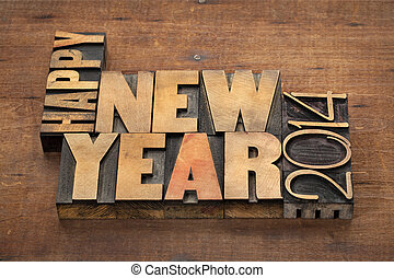 Happy New Year 2014 greetings or wishes - text in vintage...