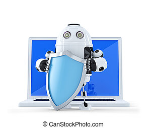 Robot with shielad and laptop Internettechnology security...