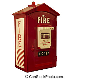 fire alarm box - red fire alarm box with clipping path at...
