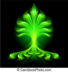 Abstract fire flower. - Abstract green fire flower on black...