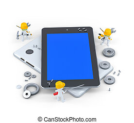 Group of construction workers with tablet computer. Isolated...