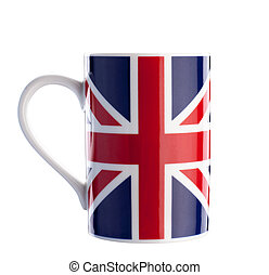 British flag cup isolated with path on white - Close up of...