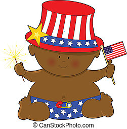 Baby Fourth of July Black - A cute baby holding the American...