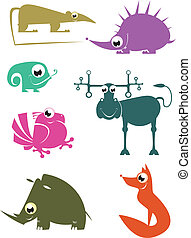 Cartoon funny animals set for desig - Cartoon funny...