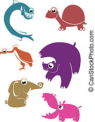 Cartoon funny animals set for desig - cartoon silhouette...