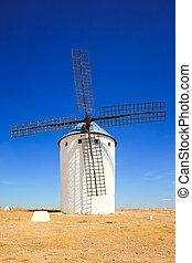 Cervantes Don Quixote windmill, Alcazar de San Juan, Castile La Mancha, Spain, Europe