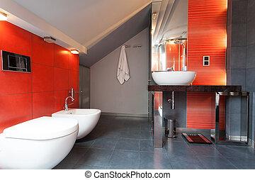 cuarto de baño, gris, rojo