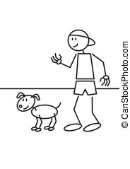 stick figure dog - Stick figure of a boy with a cap an his...