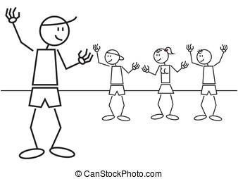 stick figure kids greetings - A group of kids greet a friend...