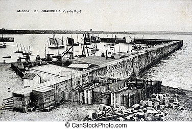 old postcard, Granville, harbor view...