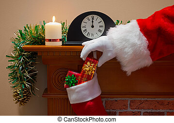 Santa Claus delivering presents on Christmas Eve - Midnight...