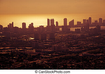 Golden afternoon in Miami - Aerial shot of Miami downtown on...