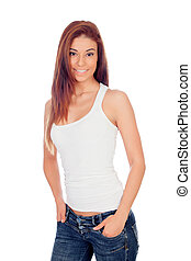 Attractive brunette girl with jeans - Attractive girl with...