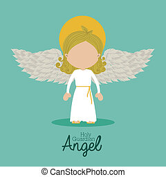 holy guardian angel over blue background vector illustration