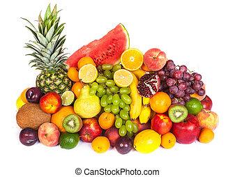 jättestor, frisk, grupp, frukter