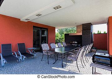Terrace in spacious villa with garden