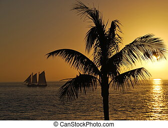 Sail Away - An vintage tall ship sails into the last rays of...