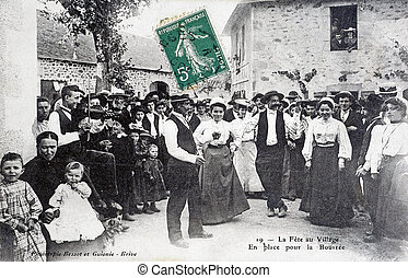 old postcard, The village feast