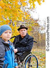Disabled grandfather and grandchild - Disabled grandfather...