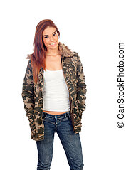 Attractive girl with military style jacket isolated on a...