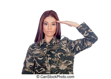 Attractive soldier giving a military salute isolated on a...