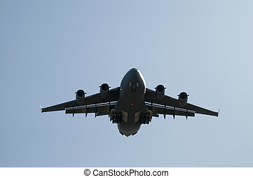 Landing Transport Plane - Large transport plane about to...