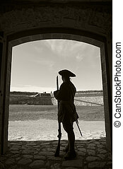 Fort Louisbourg Soldier - Silhouette of a soldier in the...