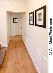 Wood floor - Hallway in a home with wooden floor and...
