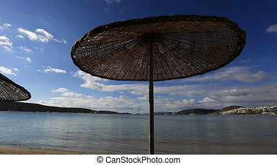 Bodrum Bay - umbrella on the beach at very famous place...