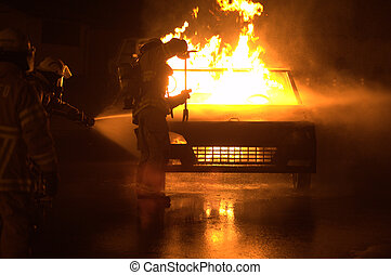 Car on Fire - Fire Fighters opening hood of car
