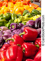 Farmers Market - Rainbow display of locally grown, red,...