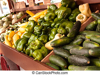 Farmers Market - Display of fresh organically grown...