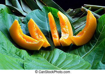 Papaya Tropical Fruit - Close up of slices of Papaya fruit...