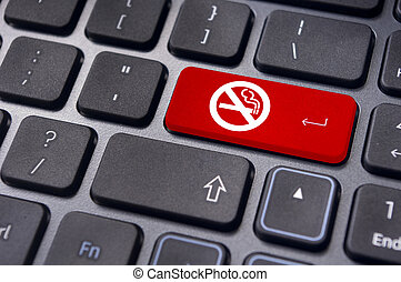 no smoking sign on keyboard, for anti smoking concepts. - a...