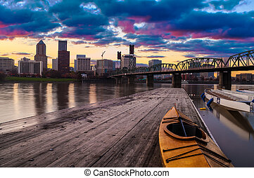 Sunset Landscape of Portland, Oregon, USA - Portland, Oregon...